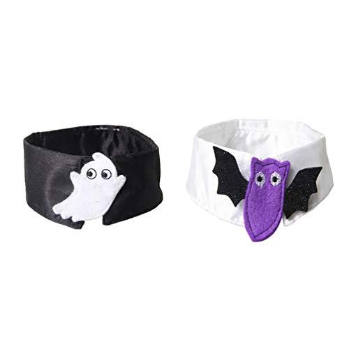 Und Kätzchen Schwarze Kostüm Weiße - POPETPOP 2 stücke Katze Bogen Kragen Katze Fliege Geist Fledermaus Druck Katze Halloween kostüme für Katze kätzchen welpen Party Cosplay zubehör größe m (schwarz weiß)