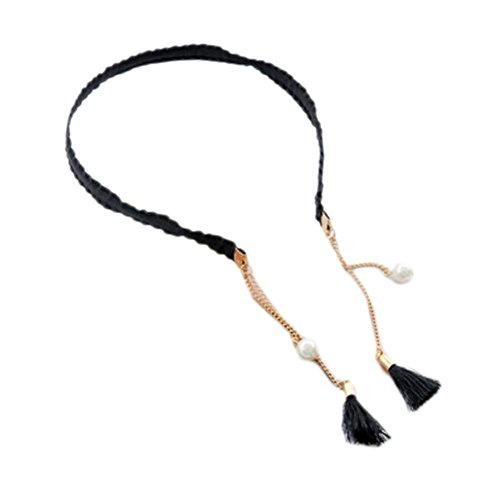 2PCS Fashion Hairpin with False Tassel Earring Headbands Hair Accessories-Black