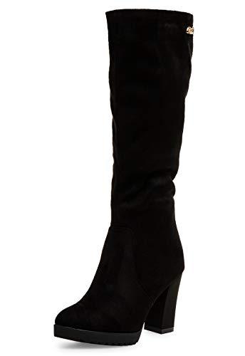 Caspar SBO097 Damen Stiefel mit hohem Block Absatz, Farbe:schwarz, Größe:40 EU