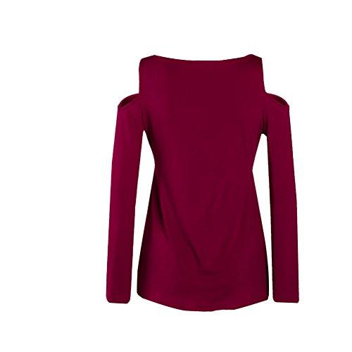 ASCHOEN Damen Lange Ärmel Schulterfrei Sexy Tiefer V Ausschnitt Bandage Coton T-Shirt Casual Slim Tops Bluse Oberteile Rot