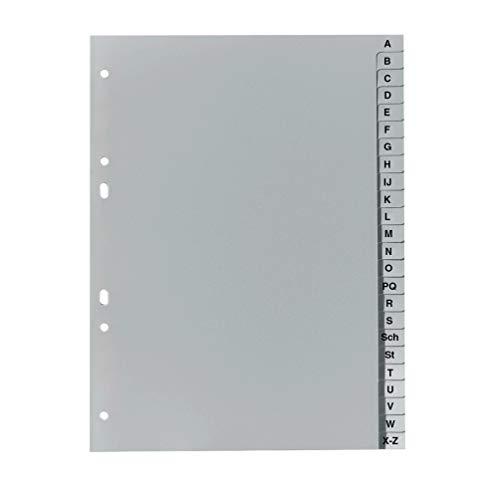 Falken PP Kunststoff-Register für DIN A5 16,3 x 21 cm volle Höhe Druck A-Z 24 Blatt grau Ringbuch Ordner Plastikregister
