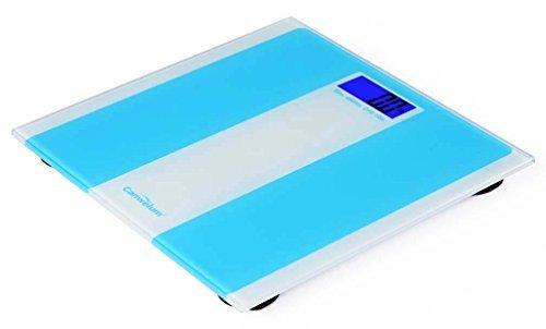 """Canwelum """"Intelligente Schritt auf"""" Praezision Digitale Personenwaage, Koerper Waage, Digitale Koerperwaage mit blauer Hintergrundbeleuchtung LCD-Display und stark gehaertetes Glas Plattform (blau)"""
