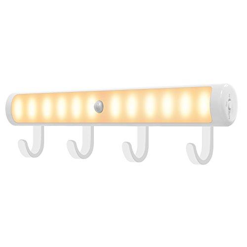 Lumières de Garde-Robe de Détection de Mouvement, MoKo USB Rechargeable Sous l'Eclairage d'Armoire, Portable 12 LED Lampe de Poche d'Urgence Night Light Bar avec Crochet pour Chambre à Coucher, Placard, Escaliers, Couloir -Blanc Chaud