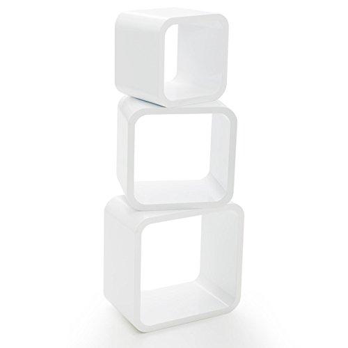 casa pura® Design Wandregal Cambridge | Set aus 3 Würfeln | Hochglanz | freischwebend (versteckte Halterung) | gesundheitsfreundliche Materialien | 4 Farben (weiß) -