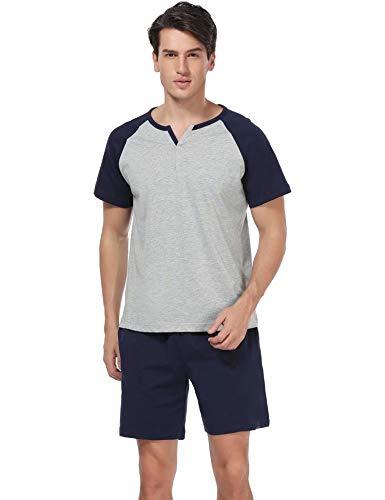 Aiboria Ensemble de Pyjama Homme 100% Coton Pyjama Homme T-Shirt Manches Courtes et Short pour Homm