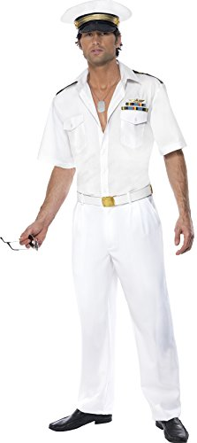 Men's Top Gun Captain Costume, Shirt, Trousers & Hat