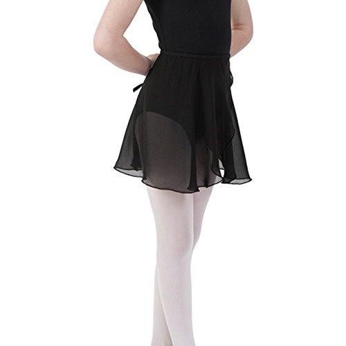 Bezioner Kinder Ballett Wickelrock Chiffon Damen Tanz Rock Mit Taille Krawatte Schwarz L
