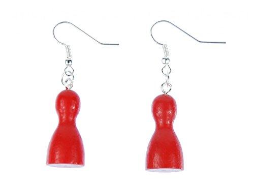 Spielfigur Ohrringe Miniblings Brettspiel Spiel Mensch ärger Dich nicht rot