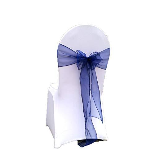 Special Bridal 20 Stück Chiffon Rüschen Stuhlhussen für Hochzeit Party Bankett Stuhl Schärpen Bambus Stuhlhussen Modern Navy75 - Bambus-stuhl-abdeckung