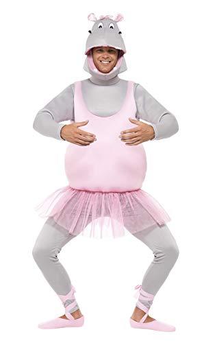 Smiffys, Unisex Ballerina Nilpferd Kostüm, Schaumstoff-Bodysuit, Kopfbedeckung, Hose und Schuhüberzieher, Größe: One Size, - Tier Bodysuit Kostüm