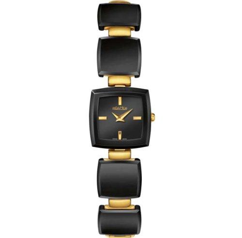 Roamer of Switzerland Women's 672953 98 55 60 Ceramic Square Black Ceramic Gold PVD Diamonds Watch