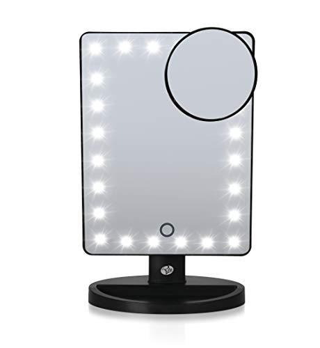 Rio Beauty 24 LED Touch DIMMABLE Makeup Mirror, Black, 6 x 6 x 25 cm Best Price and Cheapest
