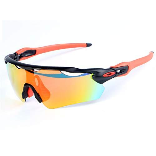 LBWNB Polarisierte Sportsonnenbrille-Mit 5 austauschbaren Objektive UV400 Schutz-Sports-Sonnenbrillen für Radrunning Gläser,BlackRed