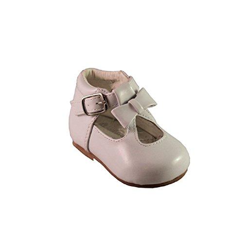 Schuhe für Mädchen, Kleinkinder, glänzend, Lackschuhe, mit Schleife, in spanischem Stil, Weiß/Schwarz/Creme/Pink/Rot, für Party, Hochzeit, rutschfeste Lauflernschuhe 21201, Weiß - weiß - Größe: 23 EU
