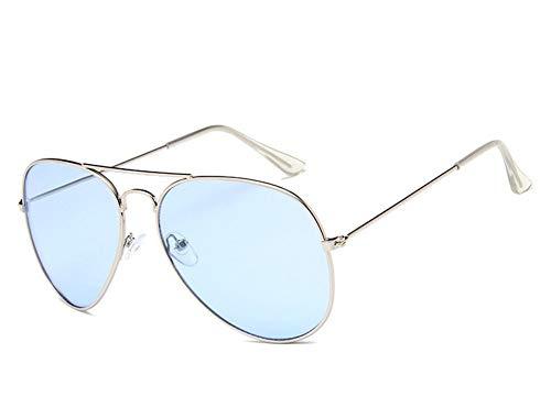 YYXXZZ Sonnenbrillen Sonnenbrillen aus Metall Mann Sonnenbrillen Silver Frame Transparent Blue Ocean Lense, Hellblau