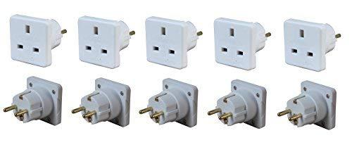 Invero® 5x Stück UK zu Europa EU Euro Tourist Travel Plug Power Netzteil-Weiß International Travel Power Pack