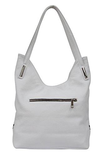 AMBRA Moda Damen Leder Schultertasche Damen Handtasche Beutel Shopper GL003 Weiß