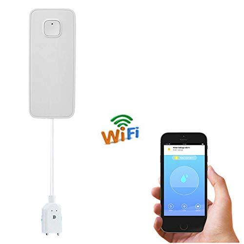 Runningfish Wassermelder wasseralarm, WiFi Wasserleckalarm, kabelloser Wasserleckdetektor, Smart APP-Leckalarm, kabelloser Wassersensor mit Benachrichtigung, Fernüberwachungsleck