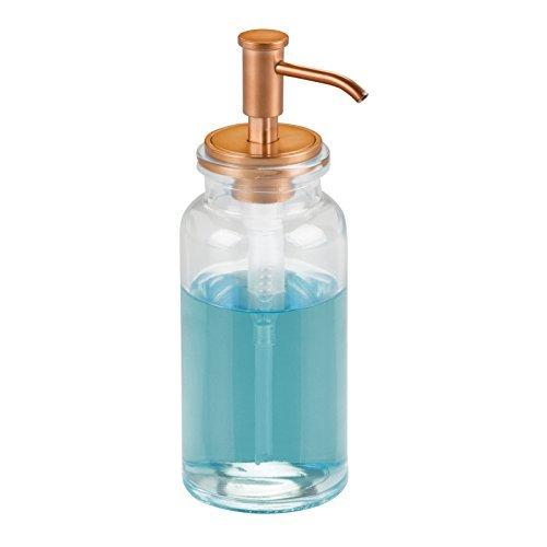 mDesign Dispensador de jabon rellenable - Dosificador de jabon en vidrio con capacidad de 443 ml - Dispensador de jabon liquido para cocina o baño -transparente/color cobre