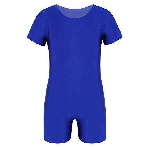 Bodysuit Ballettanzug Trikot Kurzarm Sportlich Jumpsuit Shorts Elastisch Einfarbig Training Tanz Gymnastik Gr.104-164 Blau 152/12Jahre ()