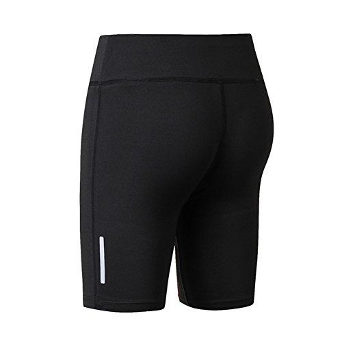 Yalatan Women Camouflage Fitness Yoga Shorts Reflective Stripe Night Running Slim Tight Gym Five Point Shorts High Elastic BreathITLe Nero