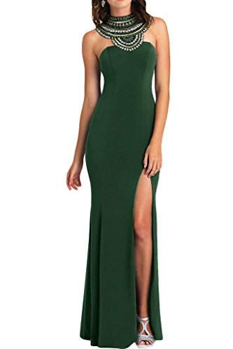 ivyd ressing–Haute Qualité strass fente rueckenfrei mousseline Prom robe Lave-vaisselle robe robe du soir Vert - Vert foncé