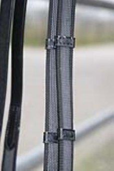 Hans Melzer Horse Equipment Zügel feingummiert, braun/silber, Extra Warmblut