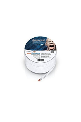 Oehlbach Speaker Wire SP-7 - Stereo HI-FI Lautsprecherkabel - Boxenkabel mit OFC (sauerstofffreies Kupfer) 2x75 cmm² - Mini Spule Lautsprecher Kabel - Weiß - 20m