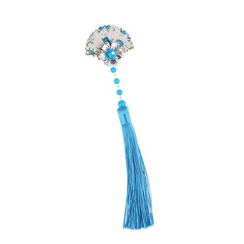 IPOTCH Chinesische Stil Haarspange mit Quaste Haarklammer Haarclip Haarnadeln Damen Mädchen Cosplay Haarschmuck - - Florale Geisha Kostüm