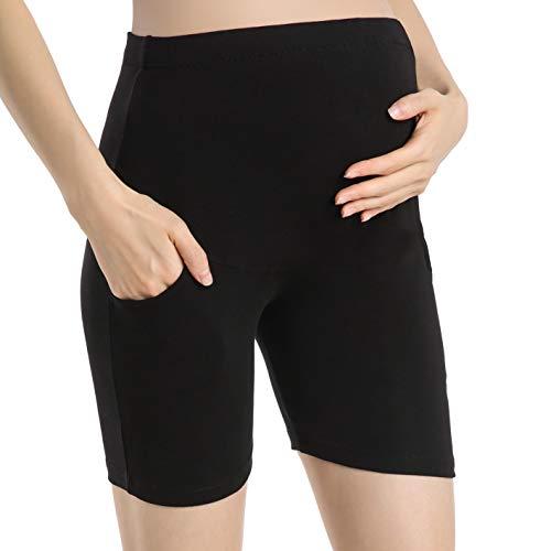 Ferrieswheel Story Schwangerschaftshose Sommer Damen Umstandsmode Legging Kurz Umstands Shorts Button Up Band