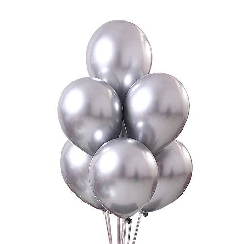 LAKIND Luftballons metallic Silber 50-Pack Luftballon metallic metallballon Hochzeit Dekorationen Geburtstagsparty Liefert (Silber -50pcs)