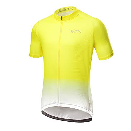ROTTO Radtrikot Herren MTB Rennrad Trikot Kurzarm Fahrradbekleidung (F Gelb-Weiß, XL)