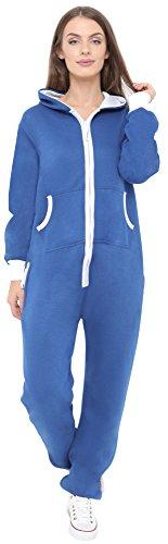 Neue stilvolle Damen-Kapuzenpulli Hood Strampelanzug Körperanzug Jumpsuit Overall Medium Blau