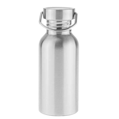 MagiDeal 350ml Edelstahl Trinkflasche Sportlich Flasche Wasserflasche mit D-Ring - Silber - M