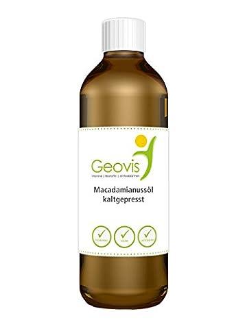 Macadamianussöl 500ml Öl - Macadamiaöl, 'Die Königin der Nüsse', kaltgepresst, Vegan - Geovis - 500ml Macadamianussöl - ideal zum Backen und Braten