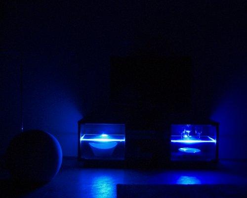 TV-BANK / Fernseh-Schrank / Sideboard in Escheoptik schwarz inkl. LED-Beleuchtung blau – B 140 cm - 3