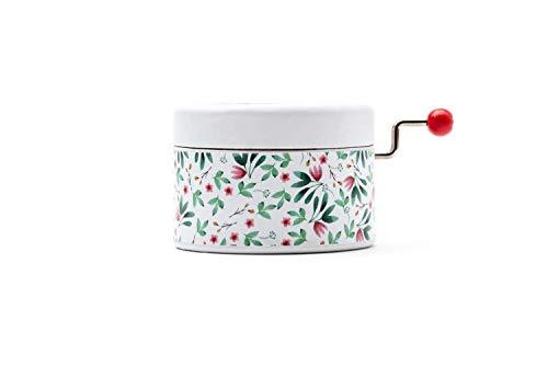 Caja de música manual redonda de estampado de flores con la melodía * Once upon a December * de la película de Anastasia