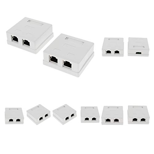 Homyl 10 STK. / Pack Cat 5e Zwei RJ45-Port Anschlussdose Universal Netzwerkdose Surface Mount Outlet Box RJ45 Frontplatte + Backbox -