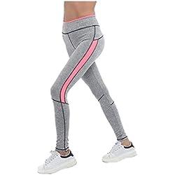 Fliegend Leggings Mujer Cintura Alta Pantalones de Yoga a Rayas Mallas Push Up Pantalones Deportivos Elásticas Fitness Gym Leggins Rosado S