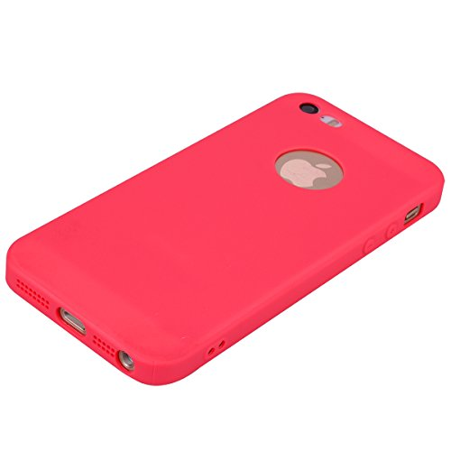 iPhone 5/5S/SE (4.0 Zoll) Hülle , Kcdream Soft Handy Cover Ultra Slim Silikon Rückseite Schutzhülle Etui Handy-Tasche Back-Cover Bumper TPU Gummihülle stoßfeste Schutz-Cover Tasche mimt einzigartiges  Rosso