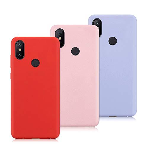 3X Funda Xiaomi Mi Mix 2S, Trasero Color Sólido Cáscara Flexible Goma Suave Delgado Gel TPU Silicona Protección Case Mate Antigolpes Anti-rasguño Caso - Rojo, Rosa Claro, Púrpura Claro