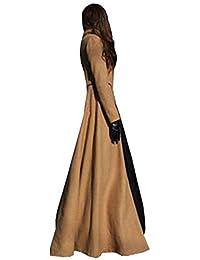 8cd3f4ebd272 Bestfort Trenchcoat Damen Parka Mantel Elegant Lang Langarm Gute Qualität  Übergang Wollmantel…