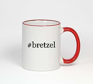 #bretzel forme de Hashtag 11 oz Tasse à café à manche rouge