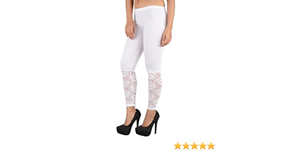 c979dc8858aa13 preet gehna Patch Women's Lace Ankle Length Cotton Leggings (White):  Amazon.in: Clothing & Accessories