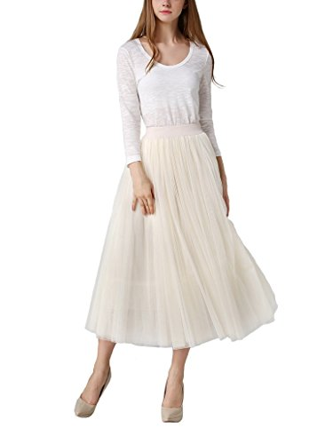 DEBAIJIA Femme Jupe Tulle Longue Mode Plissée Tricot Princesse Jupes Taille Élastique 4 Couches pour Soirée Danse - Beige