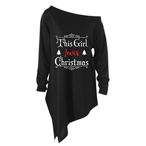 Damen Halloween Weihnachten Kostüm,Geili Frauen Halloween Weihnachten Langarm Geist Print Sweatshirt Pullover Tops Damen Lose Casual Asymmetrische Bluse T Shirt (Billig Übergröße Kostüm Frauen)