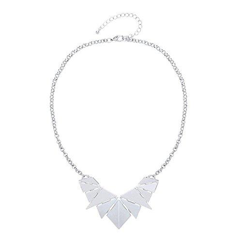 Front Row collar mujer color de plata diseño ojas - longitud 45-52cm