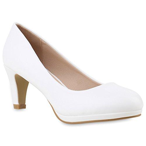 Damen Klassische Pumps Stilettos Leder-Optik Elegante Schuhe 145098 Weiss 36 Flandell