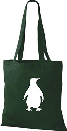 Borsa In Tessuto Di Cotone Pinguino, Borsa In Cotone, Vari Colori Verde Bottiglia