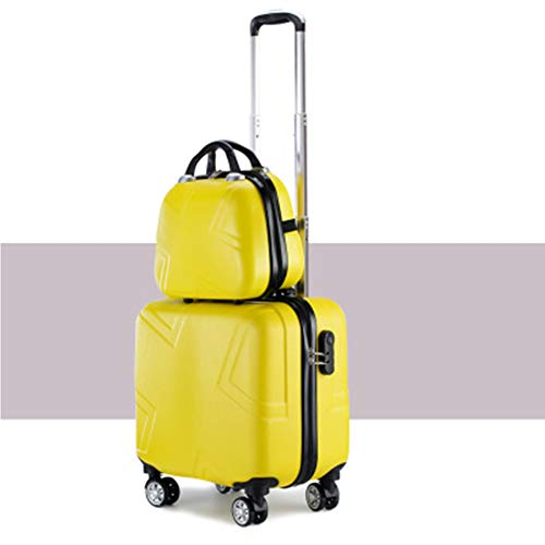 WQING 2 STÜCKE Kinder Gepäck Set ABS Kinder Rucksack Koffer Trolley Reise Schule 16 Zoll, A8